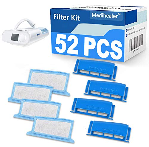 Medihealer CPAP Filters 52 Packs Compatible with Dreamstation:4 Assembled Filters+22 Foam+22 Ultra-fine- Assembly Filter into Reusable Frame Kit-Pollen & Hypoallergenic,Medihealer Replacement Supplies