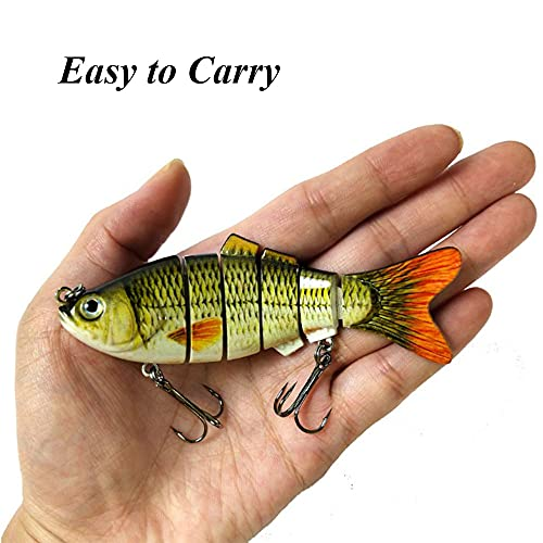 3 Pieces Artificial Lures, Bass Fishing Lures, Sinking Lure Fishing, 3.94 Inch Durable Lifelike Multi Jointed Fishing Lures for Bass, Trout, Walleye, Pike, Perch (3 Styles)