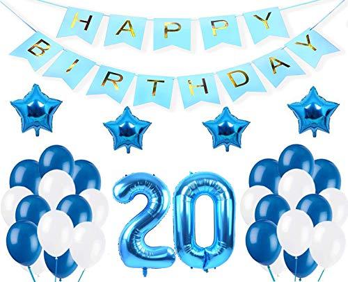 """Decoraciones de 20 Cumpleaños,""""Happy Birthday"""" Bandera Banner, Set globo azul 20 año, Clásico Número 20 Globo para cumpleaños, decoración de bodas, decoración de fiesta (azul20)"""
