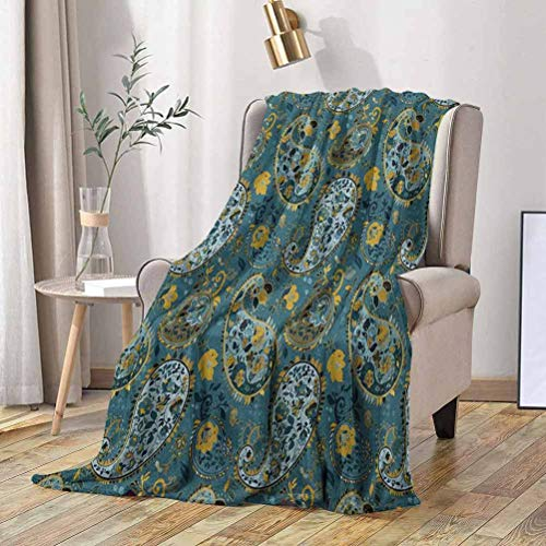 RenteriaDecor Paisley Blanket Antique Curly Floral Motifs Old Fashioned Baroque Blossoms Oriental Cultural Design 60x60 Inch Super Soft Cozy Luxury Bed Blanket Microfiber