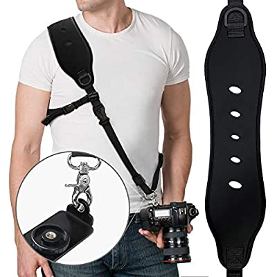 Camera Strap, Vzrflee Camera Neck Strap w/Quick Release Plate and Safety Tether Breathable Adjustable Camera Sling Shoulder Neck Strap for Canon Nikon Sony Olympus DSLR SLR Camera