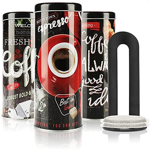 com-four® 3X Kaffeepaddose mit Pad-Heber - Dekorative Vorratsdosen mit verschiedenen Dekoren - Aufbewahrungsbehälter mit Pad-Lifter für Kaffeepads (3 Stück mit Pad-Heber - schwarz Mix1)