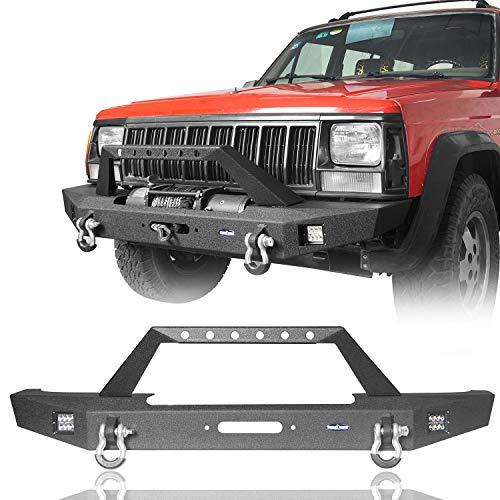 Hooke Road Jeep Cherokee XJ Front Bumper w/2 ×18W LED Lights & Winch Plate Compatible with Jeep Cherokee XJ 1984-2001