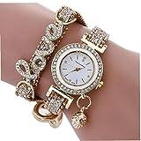 Montre Femme quartz analogique avec strass Crystal Love Bracelet Bracelet...