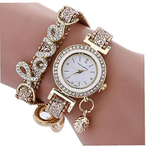 GGOOD Frauen-Uhr-Analog-Quarz-Uhr mit Strass Armband Crystal Love Snakeskin Texture-Bügel-Quarz-Armbanduhr mit eingebauter Batterie Gold-Accessoire