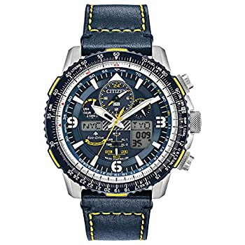 Citizen Eco-Drive Promaster Skyhawk A-T Quartz Mens Watch Stainless Steel with Leather strap Pilot watch Blue  Model  JY8078-01L