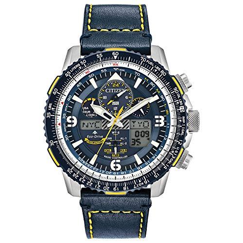 Citizen Men's Stainless Steel Quartz Sport Watch with Leather Strap, Blue, 24 (Model: JY8078-01L)