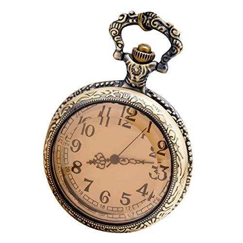 YANJ Reloj de Bolsillo Vintage para Hombre Reloj de Bolsillo Reloj de Collar con Personalidad Reloj de Bolsillo Retro Reloj de Bolsillo de Vidrio Mecánico clásico de Cara Lisa