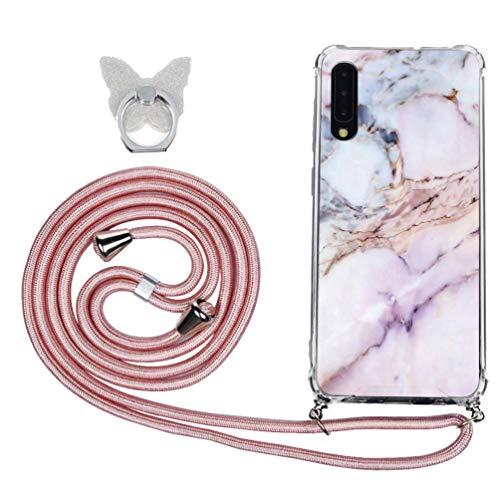 A30S/ A50S Handyhülle Für Samsung Galaxy A50, Durchsichtig Hülle Mit Gürtel Biegsam Rückschale Handy-kette Kodel zum Umhängen, Hülle Silikon Gel mit Band Für Smartphone Necklace, Ring Halter, Marmor