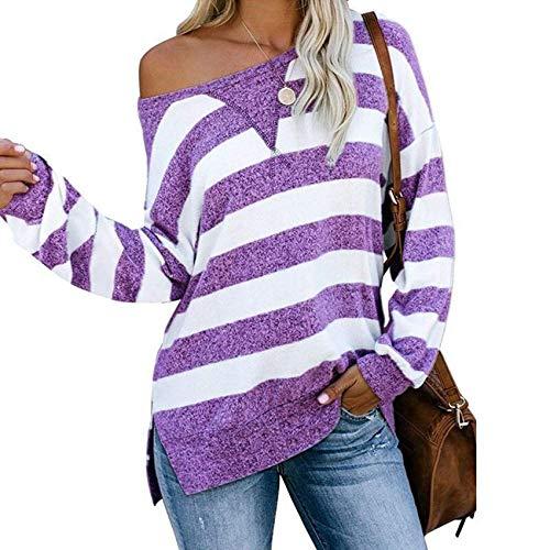 Herbst Und Winter Frauen LäSsig Lose Farbe Passend Gestreifte LangäRmelige T-Shirt Frauen