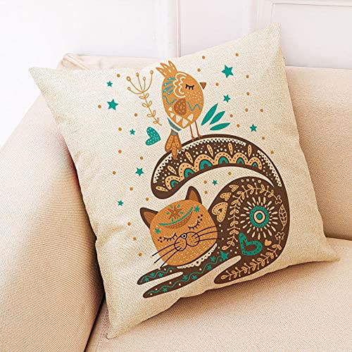 Fundas de Almohada de Dibujos Animados y pájaros, Fundas de Almohada Decorativas cuadradas Suaves para Sala de Estar, sofá, Dormitorio, 45 cm x 45 cm