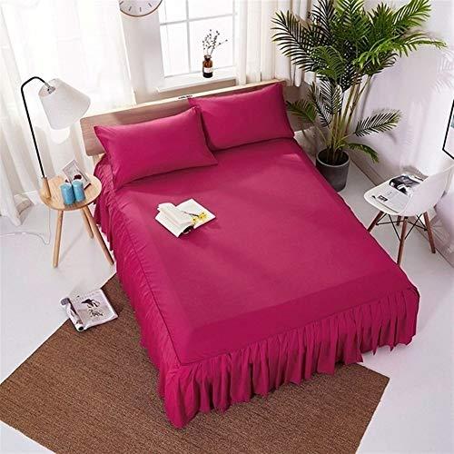 Cama Individual/Full/Queen/King Falda Colcha Inicio Hotel Cama Cubierta de Cama Falda Protector colchón Cama Falda Bedsheet FaldóN Volantes (Color : Rose, Size : Twin 99x190x38cm)