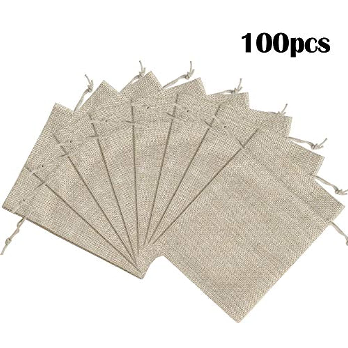 "Lucky Monet 25/50/100PCS Burlap Gift Bags Wedding Hessian Jute Bags Linen Jewelry Pouches with Drawstring for Birthday, Party, Wedding Favors, Present, Art and DIY Craft (100Pcs, Cream, 7"" x 9"") dpl4422351"