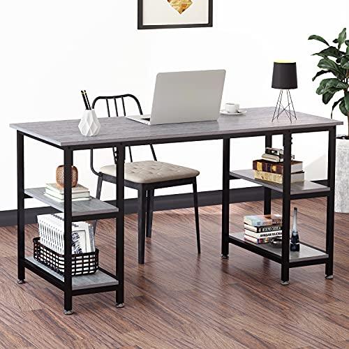 YOLEO Schreibtisch Computertisch Bürotisch Gaming Tisch Home Office aus Metall und Holz 120 x 60 x 76 cm (Weiß und Grau 120 x 60 cm)