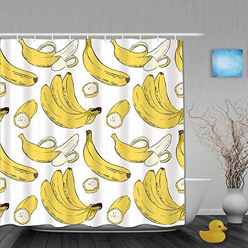 CVSANALA Duschvorhang,Banane,personalisierte Deko Badezimmer Vorhang,mit Haken,180 * 210