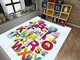 Alfombra Letras inglesas Coloridas Alfombra De Pelo Corto Alfombra De Salón Moderna Alfombra Salón Home Alfombra Diseño 3D para Interior tamaño:160x230 cm