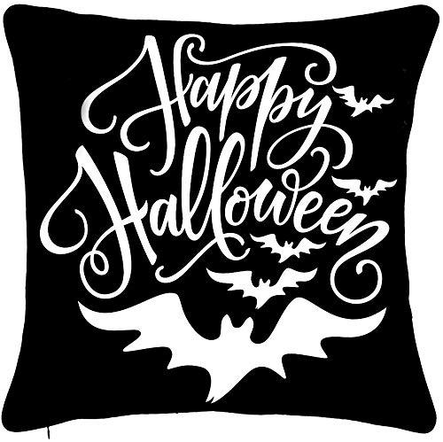 Happy Halloween Bat Throw Pillow Cover 18 x 18 cm voor bankvalversiering boerderij huis decoratie zwart decoratief kussen katoen linnen vierkant kussentje voor bank, bed, stoel