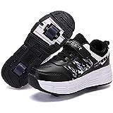 GWYX Zapatos con Ruedas Zapatillas De Skate para Niños Zapatillas De Skate con Ruedas Zapatillas Deportivas con Ruedas para Niñas Niños,Black-39