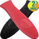 Cast Iron Handle Cover, 2 Pack 5.8 Inches [ 2020 Long Version ] Heat-Insulating Silicone Hot Handle...