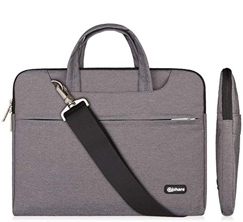 Qishare 11.6-12 Inch Laptop Bag Multi-functional Polyester Fabric Laptop Case,Adjustable shoulder strap&Suppressible Handle,Portable Sleeve Briefcase(11.6-12'', Grey)