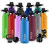Grsta Trinkflasche Vakuum Isolierte Edelstahl Thermoskanne 600ml/1000ml, BPA-freie Isolierflasche, Auslaufsichere Wasserflasche thermoskanne Kinder, für Kinder, Zuhause, Fitnessstudio, Schule
