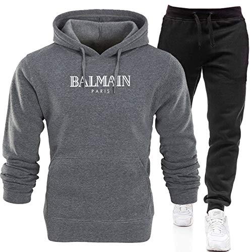 Conjunto completo de chándal para hombre, pantalones deportivos y sudadera con capucha, sudadera de manga larga + pantalones largos con (S-XXXL) gris3-S