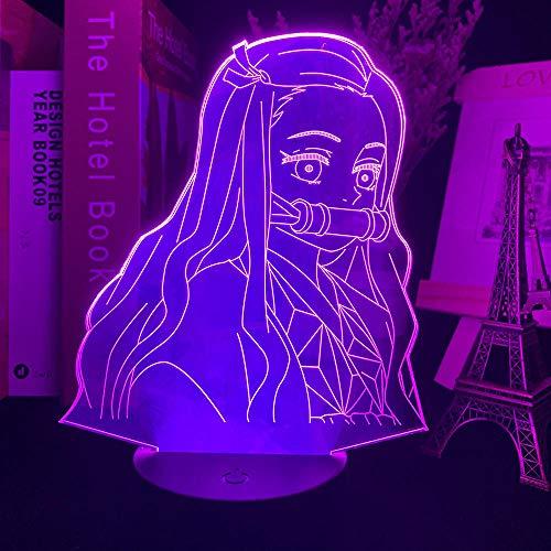 3D Nachtlicht Anime Kimetsu No Yaiba Nezuko Kamado Figur LED Nachtlicht für Schlafzimmer Dekor Nachtlicht Kinder Kind Tisch 3d Lampe Slayer