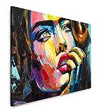 Paul Sinus Art Frau in bunt 120x 80cm Inspirierende Fotokunst in Museums-Qualität für Ihr Zuhause als Wandbild auf Leinwand in