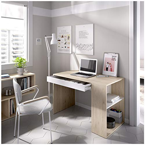 HABITMOBEL Mesa Escritorio, Mueble de despacho, Cajon Y Hueco, Medidas: Alto 74 cm x Ancho 115 cm x Fondo 50 c