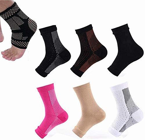 6 pares de calcetines magnéticos de cobre empapados con desgaste Vita, soporte para arco plantar, calcetines de compresión antifatiga para fascitis plantar (6 pares L/XL)