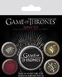 1art1 Juego De Tronos - Casa Lannister, Stark, Baratheon, Targaryen, 1 X 38mm & 4 X 25mm Chapas Set De Chapas (15 x 10cm)
