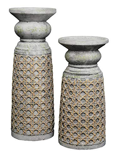 Classic Home and Garden 260035-587 Maxwell Candle Holder Set of 2-Straw Weave Planter