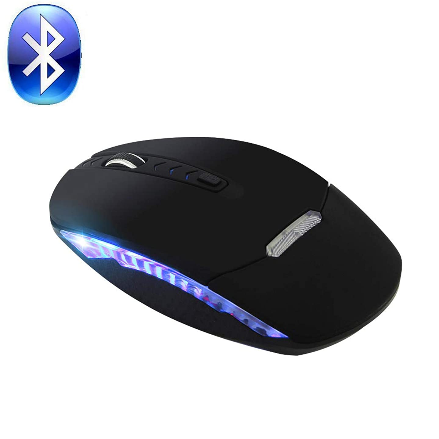 Bluetooth Wireless Mouse,Rechargeable Silent Optical Mouse with USB Receiver for Notebook, PC, Mac, Laptop, Computer,Windows/Android Tablet,800/1200/1600DPI,Blue LED Light