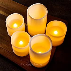 """- Sale - Hayley Cherie - Real Wax Flameless Candles with Timer (Set of 5) - LED Candles 5"""" and 3"""" Tall - Flickering Amber Flame - Battery Operated Pillar Candles - Large Unscented (Ivory)"""