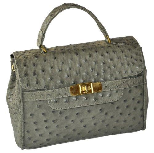 Damen-Handtasche Kelly in Hellgrün - ! Maßanfertigung ! - ! Echtes Straußenleder ! - Exklusive und SEHR INDIVIDUELLE Handtasche