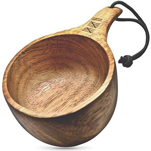 Dursten Lore Kuksa Becher aus Holz, handgefertigt, 340 ml, leicht und umweltfreundlich, für Camping, Rucksackreisen oder Bushcraft