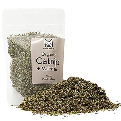 munchiecat Organic Catnip with Valerian Root Blend, USA Grown, Leaf and Flower Premium Cat Nip (15 Grams)