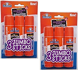 Elmers Jumbo Disappearing Purple School Glue Stick, 1.4 Ounce, 2 Packs of 3 Sticks, 6 Sticks Total
