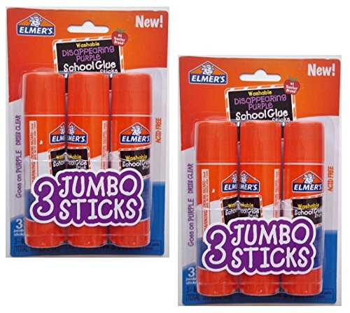 Elmers Jumbo Disappearing Purple School Glue Stick, 1.4 Ounce, 2 Packs of 3 Sticks, 6 Sticks Total