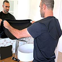 Greatlong Beared Apron - Advanced and Multifunctional Beard Clippings/Shaving Apron,Facial Hair Cutting Catcher/Grooming Cape Bib,Premium Suction Cups&Black Bag