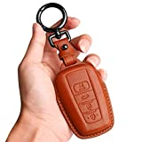 Tukellen for Toyota Key Fob Cover Genuine Leather with Keychain,Leather Key Case Protector Compatible Toyota RAV4 Camry Corolla Avalon C-HR Prius GT86 Highlander (only for Keyless go)-Brown