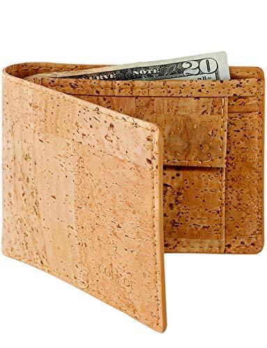 Corkor Cartera de Corcho Vegano con Bolsillo de Monedas Bloqueo RFID Natural