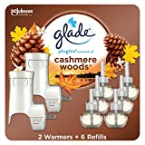 Glade PlugIns Refills Air Freshener Starter Kit, Scented Oil for Home and Bathroom, Cashmere Woods, 4.02 Fl Oz, 2 Warmers + 6 Refills