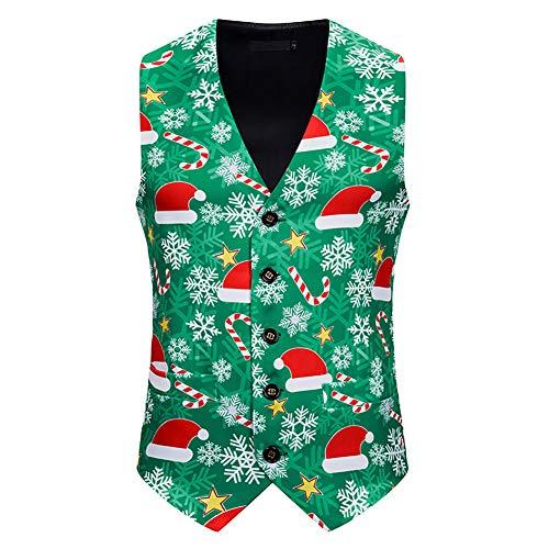 Kerstmis Vest mannen 3D Christmas Hat print met V-hals kostuum prom party tops gilet, slim fit mouwloos nachtclub vest