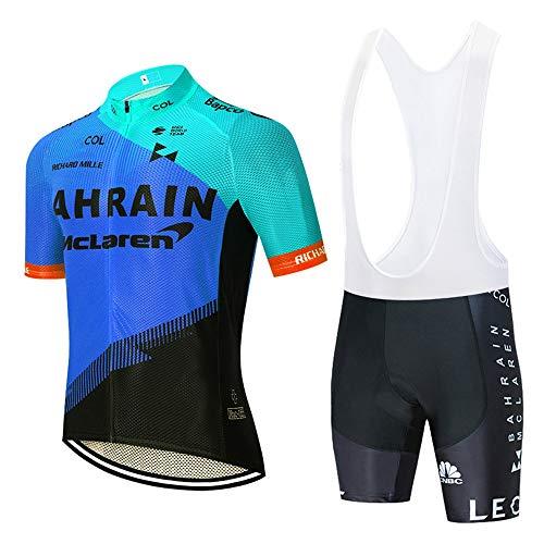 STEPANZU Abbigliamento Ciclismo Uomo Set MTB Team Maglia Manica Corte Traspirante Quick Dry e Pantaloncini Imbottiti in Gel Abbigliamento Sportivo da Ciclismo Set