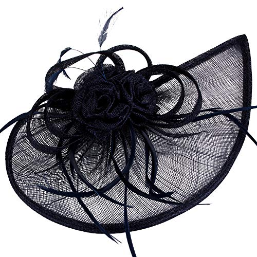 VIJIV Women's Vintage Derby Fascinator Hat Pillbox Headband Feather Cocktail Tea Party Navy Blue