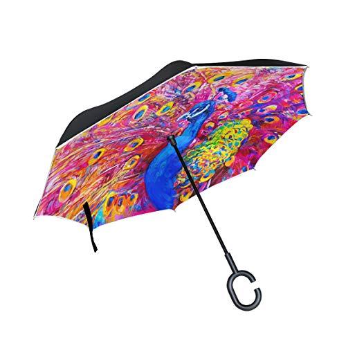 ISAOA Doppelschichtiger umgekehrter Regenschirm, selbststehend und innen außen, Auto-Regenschirm, Original-Ölgemälde von bunten Pfauen, Winddicht, regenverkehrter Regenschirm mit UV-Schutz