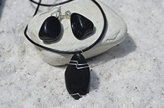 Custom Apache Tears Stone Sterling Silver Earrings and Necklace - Made to Order
