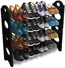 Hush Berry Stackable 12 Pairs 4 Layer Shoe Rack Baby Wardrobe Multipurpose 4 Tier Stack-Able Shoe Stand (Stainless Steel | Black)