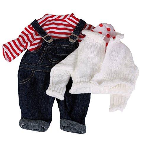 Götz 3401998 Babypuppen Latzhosen Set - Matrose Puppenbekleidung Gr. S - 4-teiliges Bekleidungs- und Zubehörset für Babypuppen von 30 - 33 cm